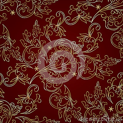 Free Red Gold Floral Vintage Seamless Pattern Stock Photo - 28937820