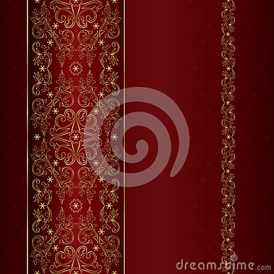 Free Red Gold Floral Vintage Seamless Pattern Stock Photo - 29121350