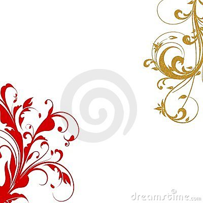 Red gold flourish swirls