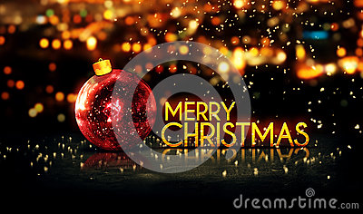 Red Gold Merry Christmas Bokeh Beautiful 3D Background Stock Photo