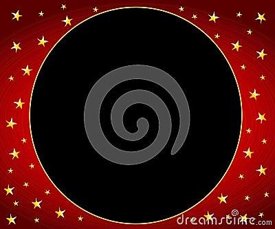 Red Gold Stars Circle Frame