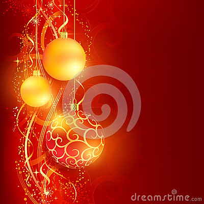 Free Red Golden Christmas Background With Baubles Stock Photography - 27448372