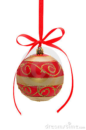 Red-golden christmas ball isolated on white