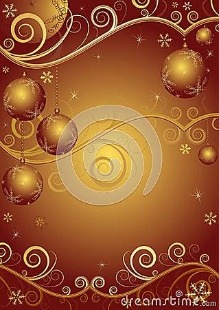 Red-golden christmas frame