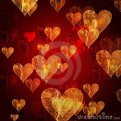 Red golden hearts background