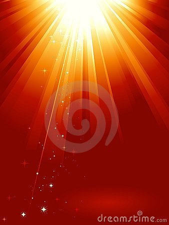 Free Red Golden Light Burst With Stars Royalty Free Stock Photos - 11268228