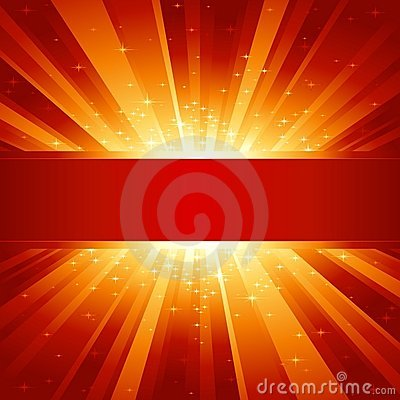 Free Red Golden Light Burst With Stars And Copyspace Stock Images - 11204554