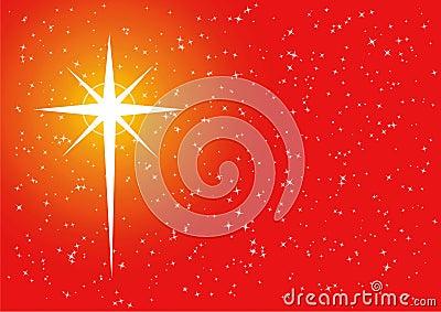 Red golden xmas cross star