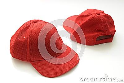 Red golf cap