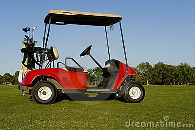 A Red Golf Cart or Buggy