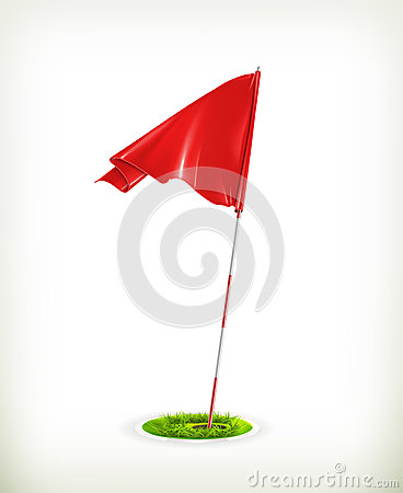 Free Red Golf Flag Royalty Free Stock Images - 25960409