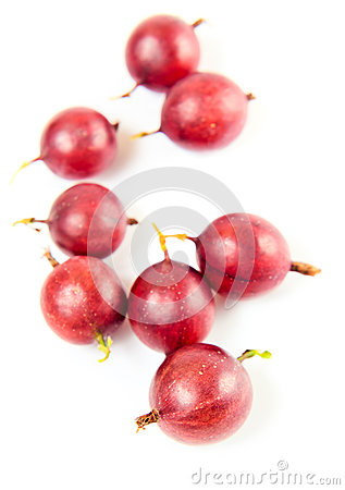 Red gooseberry on a white background