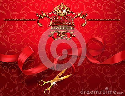 Red grand opening invitation card with scissors and red ribbon red grand opening invitation card with scissors and red ribbon vector illustration stopboris Image collections