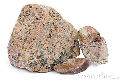 The red granite stones