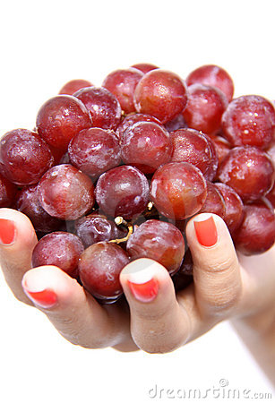 Red Grapes in hand