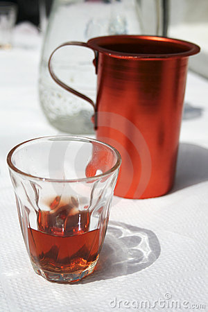 Free Red Greek Traditional Wine Jug And Glass Royalty Free Stock Image - 10357156