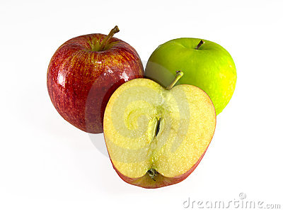Red and green apple isolated