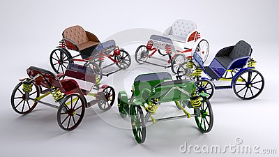 Red, green, blue,black & white horse cart