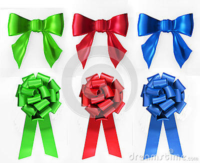 Red, green  and blue bows.