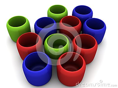 Red Green Blue cups