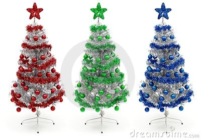 Red, green and blue decorated Christmas tree