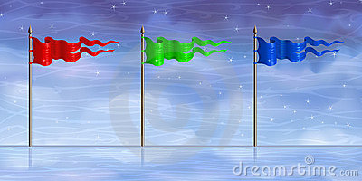 Red, green, blue flags