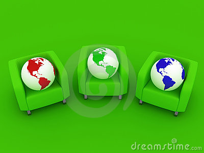 Red green blue Globes and sofa
