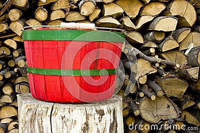 Red and green bushel basket