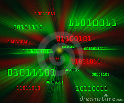Red green bytes of binary code flying in a vortex