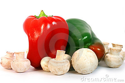 Red And Green Capsicum Or Bell Pepper With Button Royalty Free Stock Images - Image: 14748059
