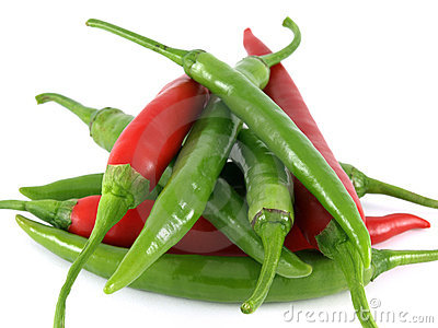 Red and green chilies