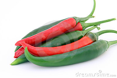 Red and green chilli banana peppers with green stalks