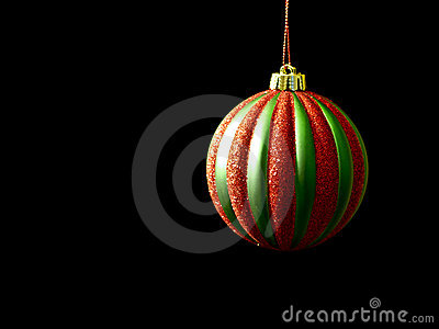 Red and Green Christmas ornament on black
