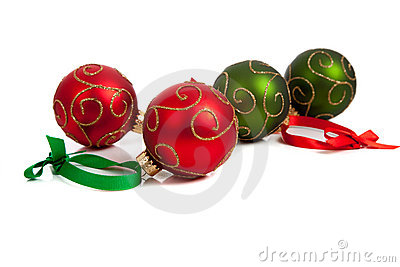 Red and Green Christmas ornaments on white