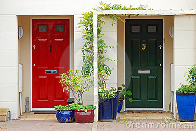Red and green door
