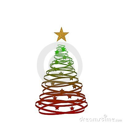 Red green gold christmas tree royalty free stock for Green and gold christmas tree