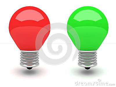 Red and green light bulb on white background