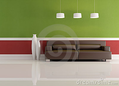 Red And Green Living Room Royalty Free Stock Photo - Image: 12441565