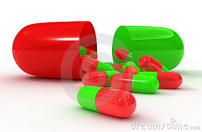 Red green open pill capsule