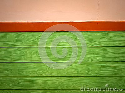 Red and Green Plank Wood wall