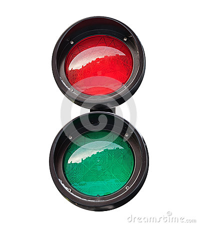 Red and green small round traffic light