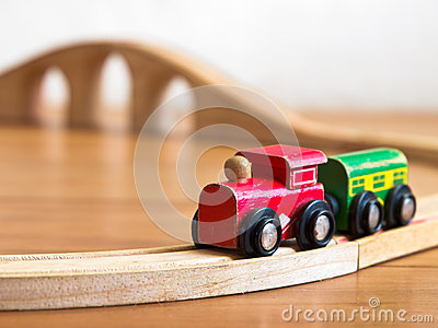 Red and green wooden toy train