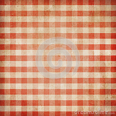 Red grunge checked gingham picnic tablecloth