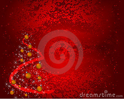 Red grunge christmas background with decorations
