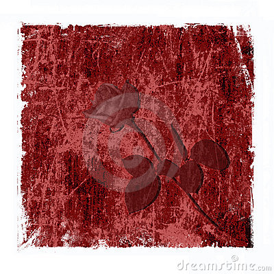 Red grungy background with rose
