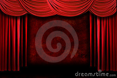 Red Grungy Stage Theater Drapes With Dramatic Ligh