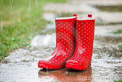 Red Gumboots In Rain Stock Photos - Image: 15695643