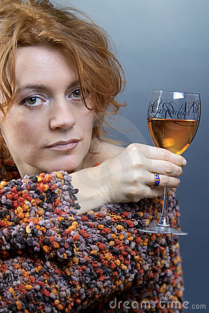 Red hair beauty and wine