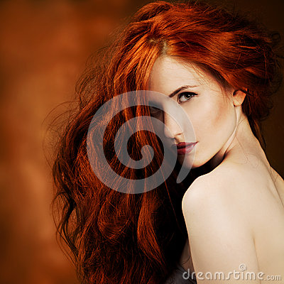 Free Red Hair. Fashion Girl Portrait Stock Photography - 26373612