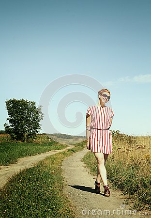 Woman in a path